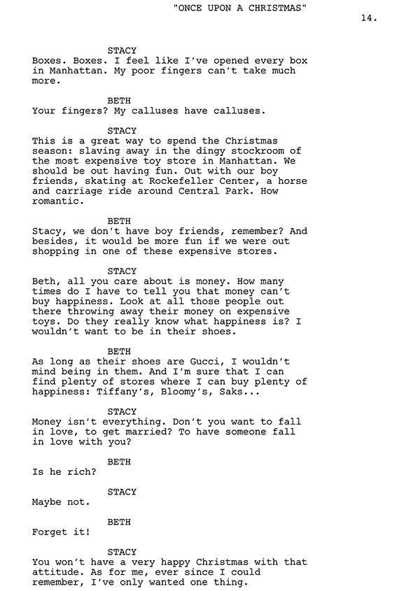 I Want A Guy For Christmas Script Sample