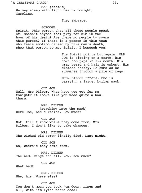 old joe and mrs dilber script sample - Christmas Carol Script