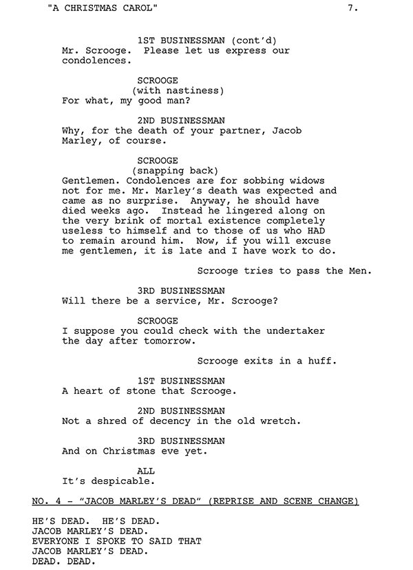 scrooge and businessmen script sample - Christmas Carol Script