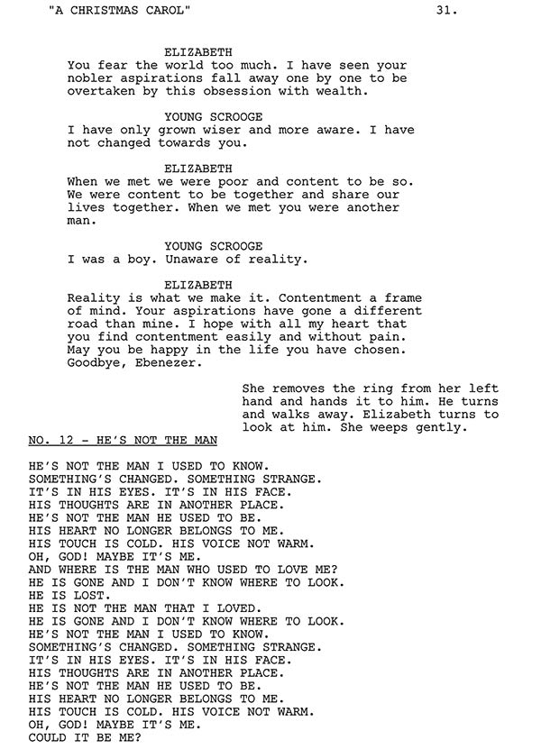 Scrooge and Elizabeth Script Sample