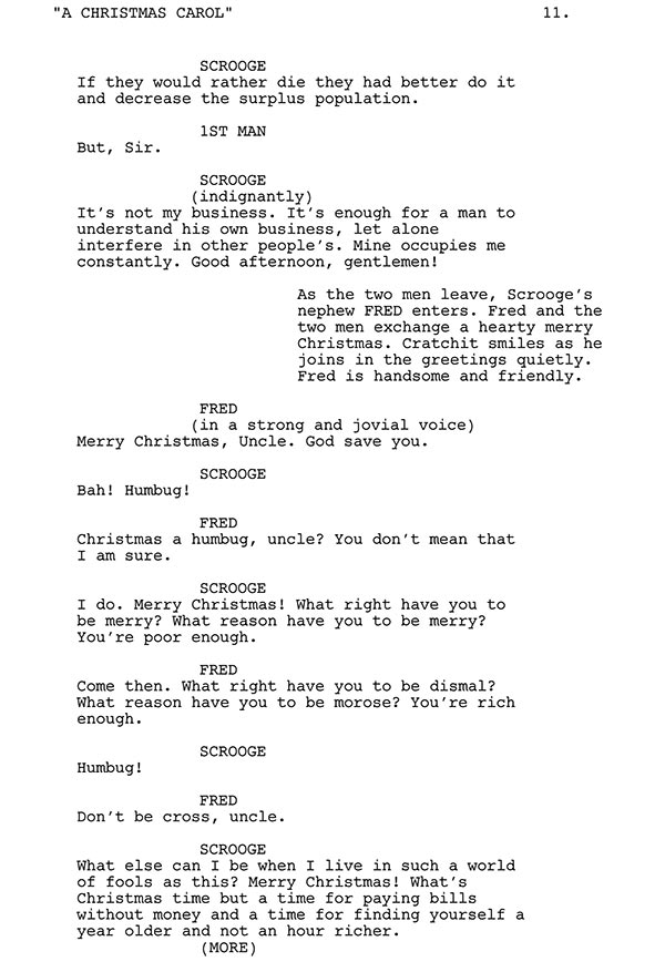 scrooge and fred script sample - Christmas Carol Script