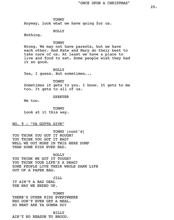 Ya Gotta Give Script Sample